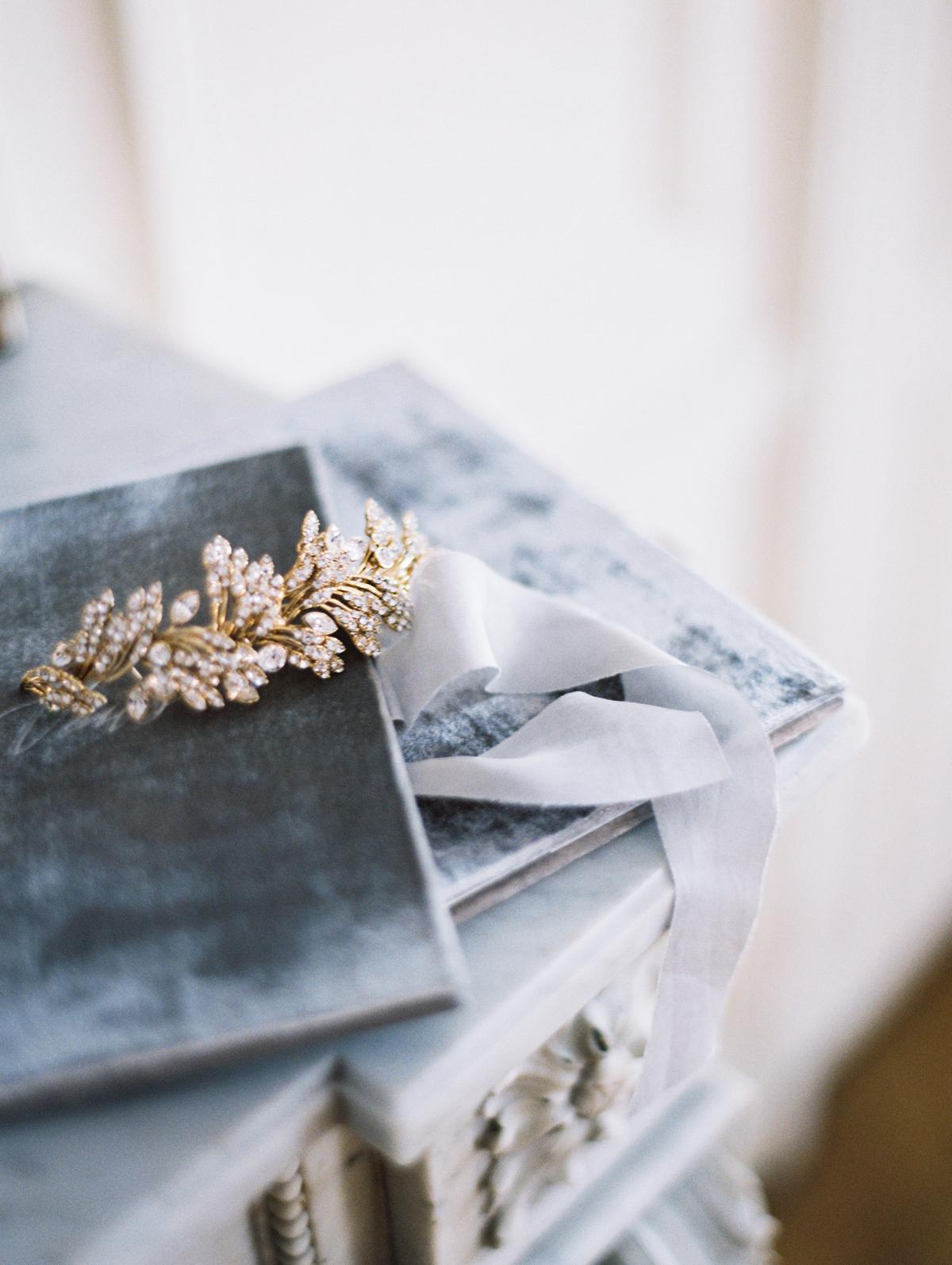 diamond and gold bridal headpiece