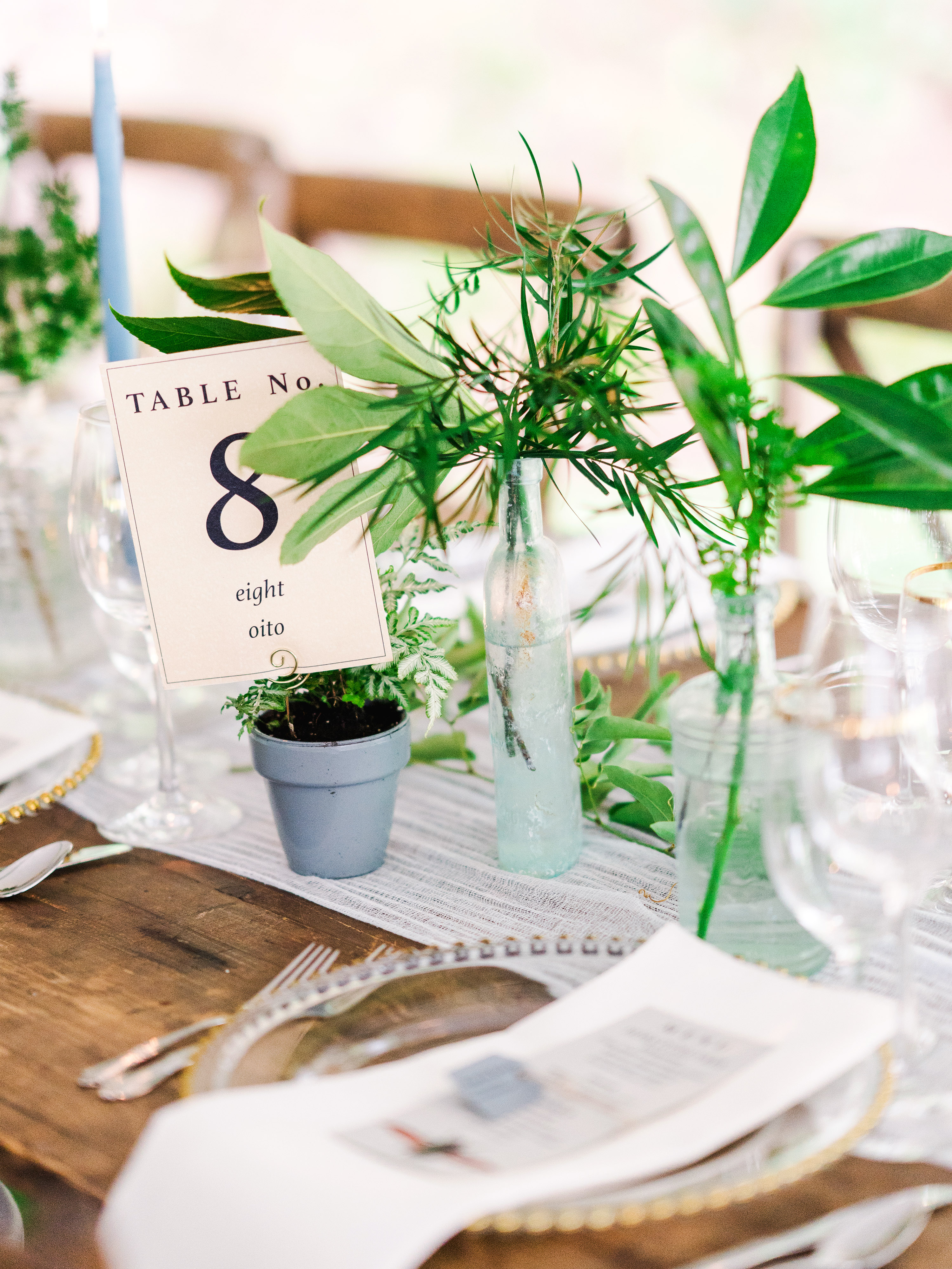 dayane collin wedding table number centerpieces