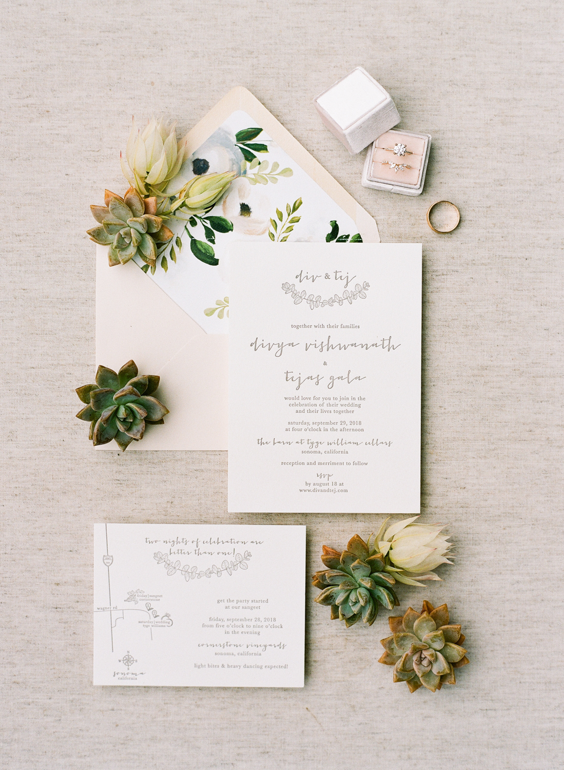 white stationary with letterpressed text and custom eucalyptus wedding logo with watercolored designed blush envelope