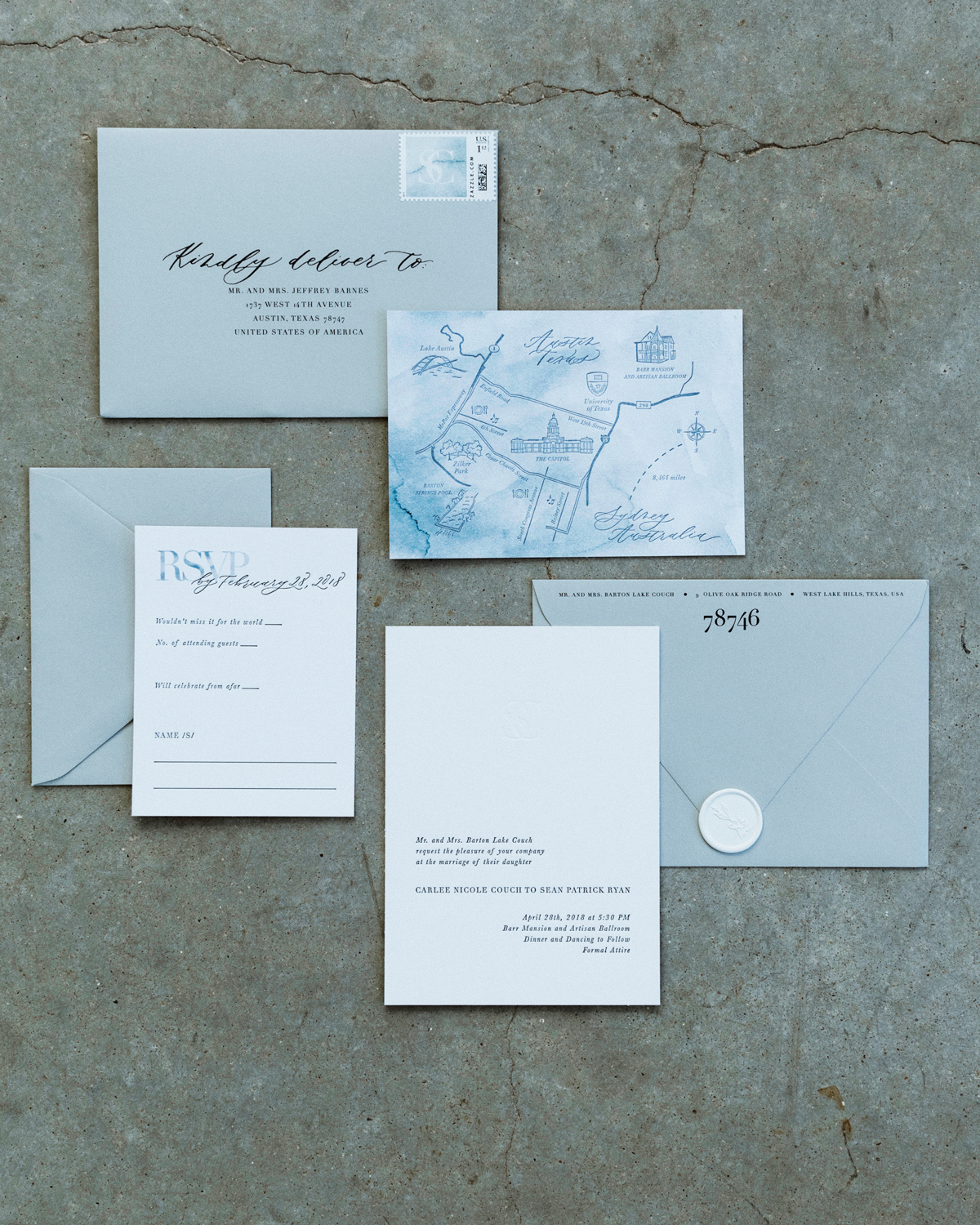 ivory cardstock with sage colored envelopes
