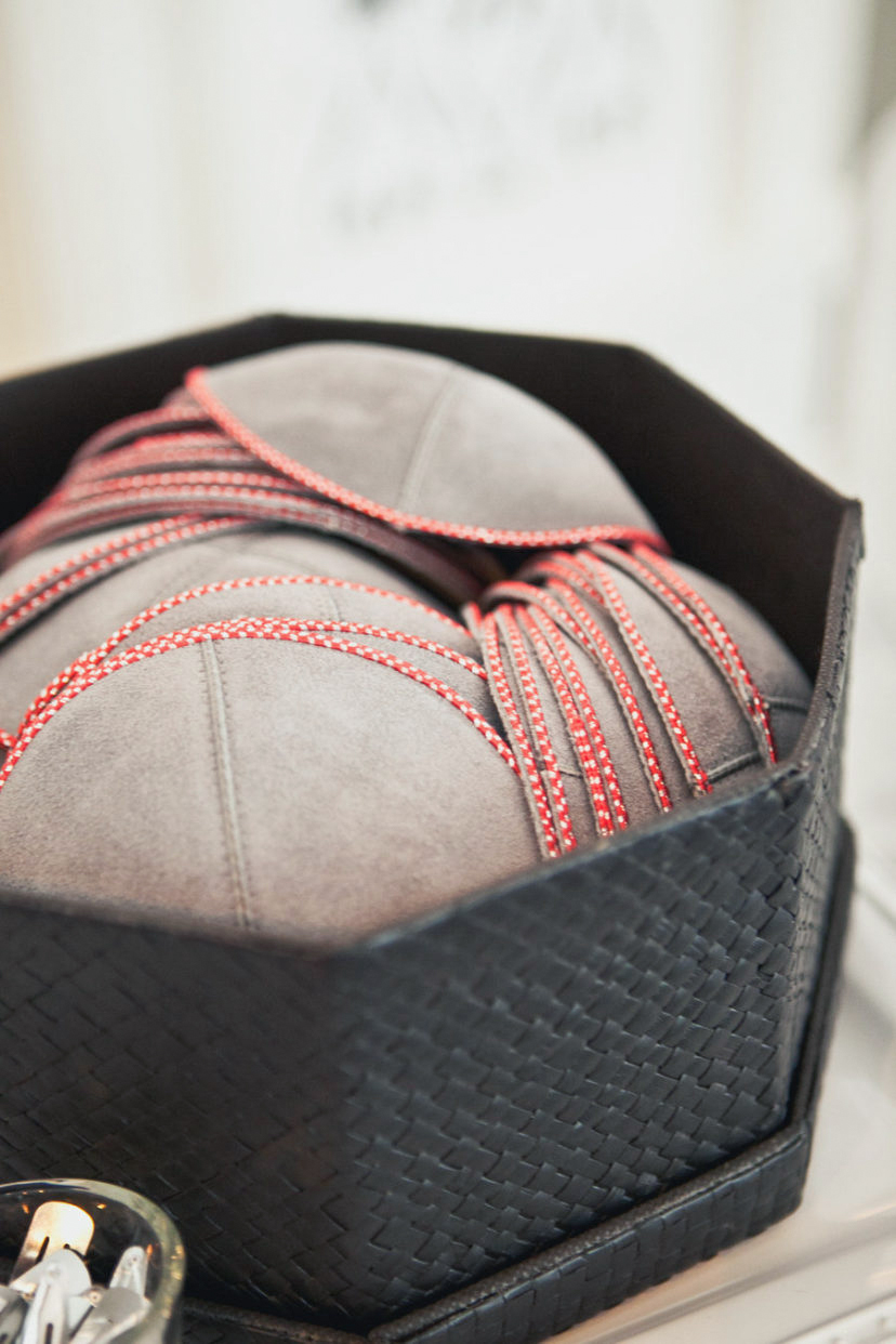 baseball-inspired red tonal stitching yarmulkes