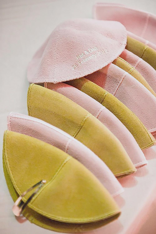 pink and yellow kippot yarmulkes