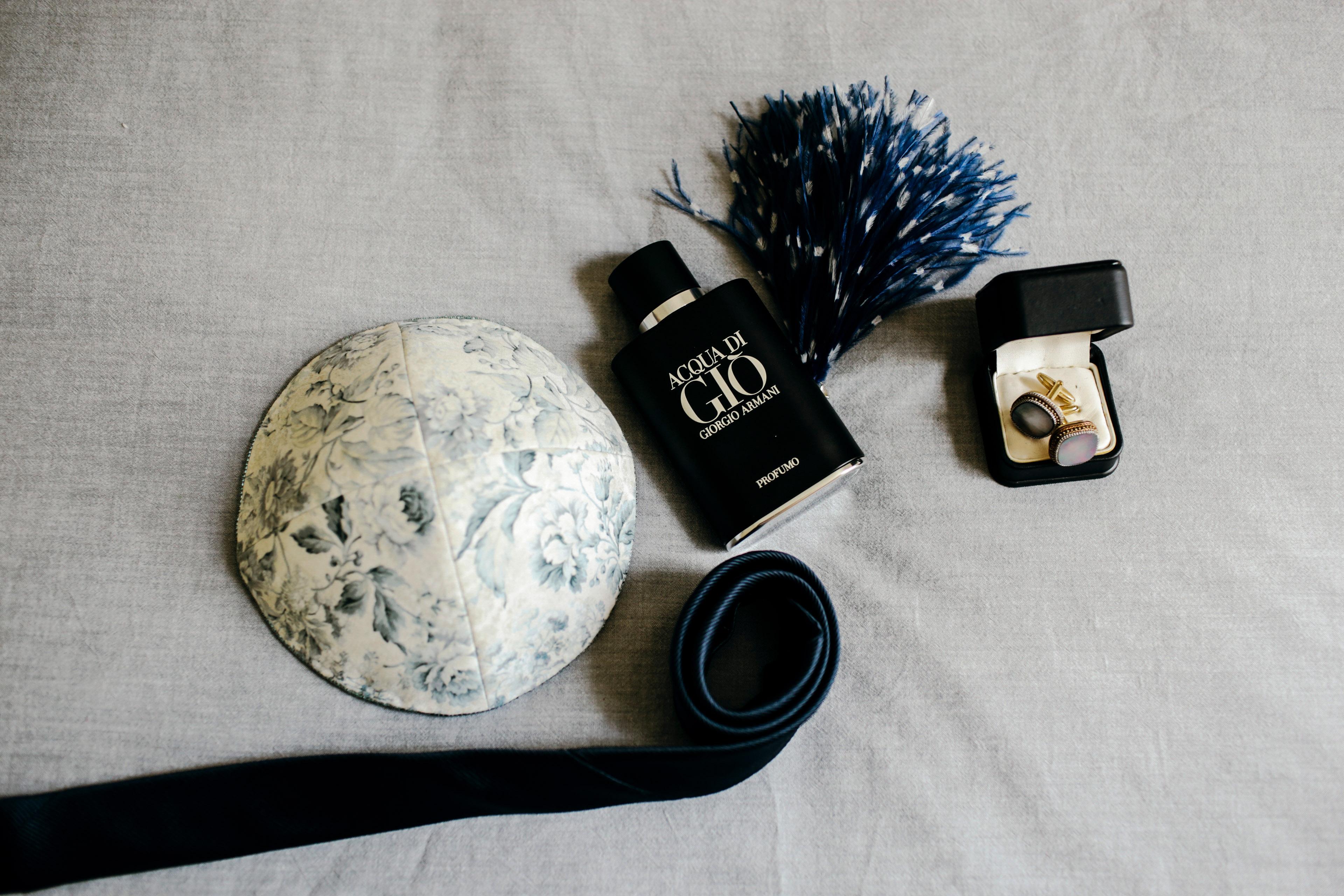 floral patterned kippot dark blue color theme