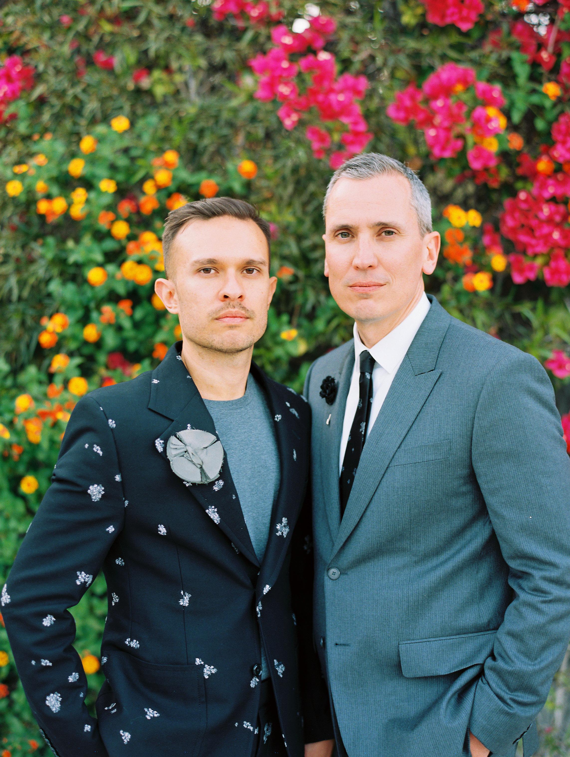 george shawn wedding grooms by flowers