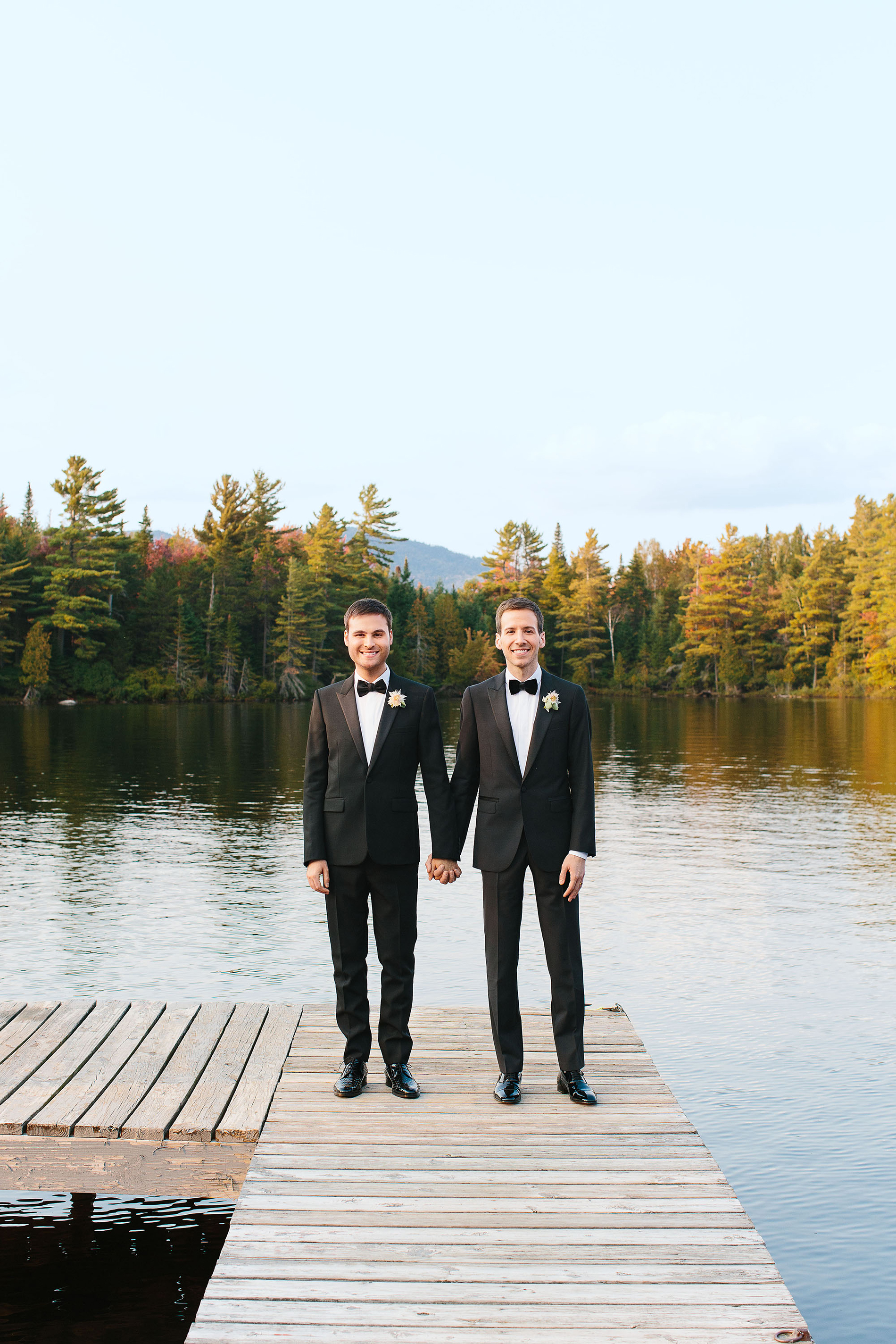 tory sean wedding lake placid new york couple grooms hands