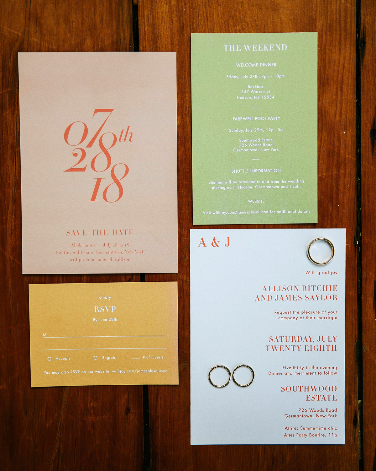 wedding stationary with summery color palette