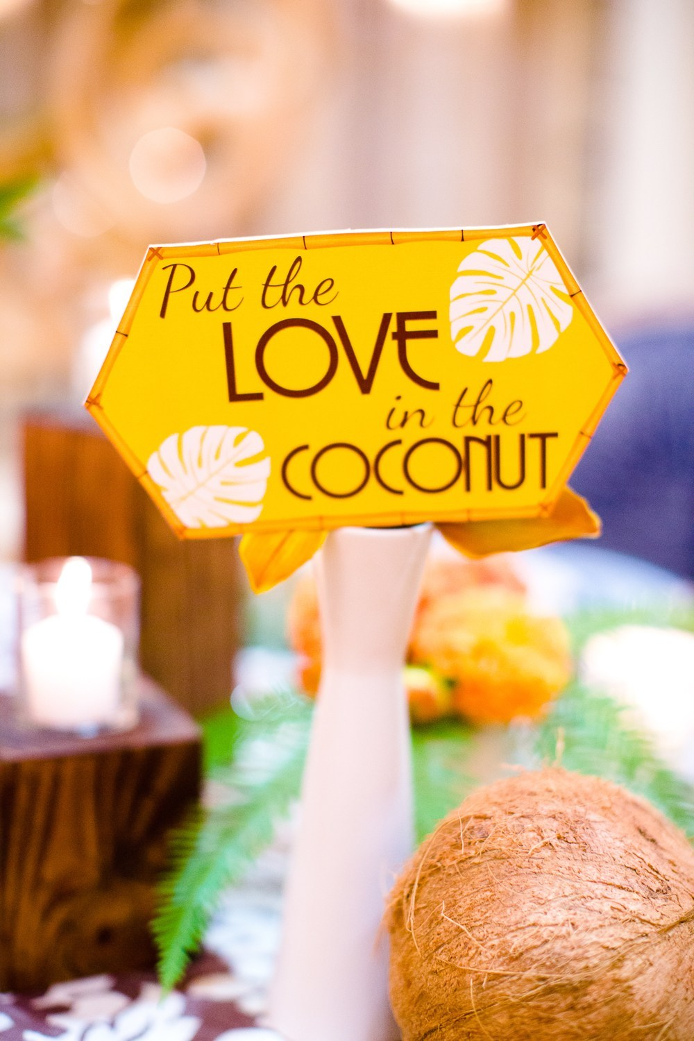 "yellow ""Put the Love in the Coconut"""