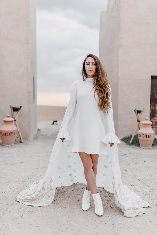 patterned bridal cape