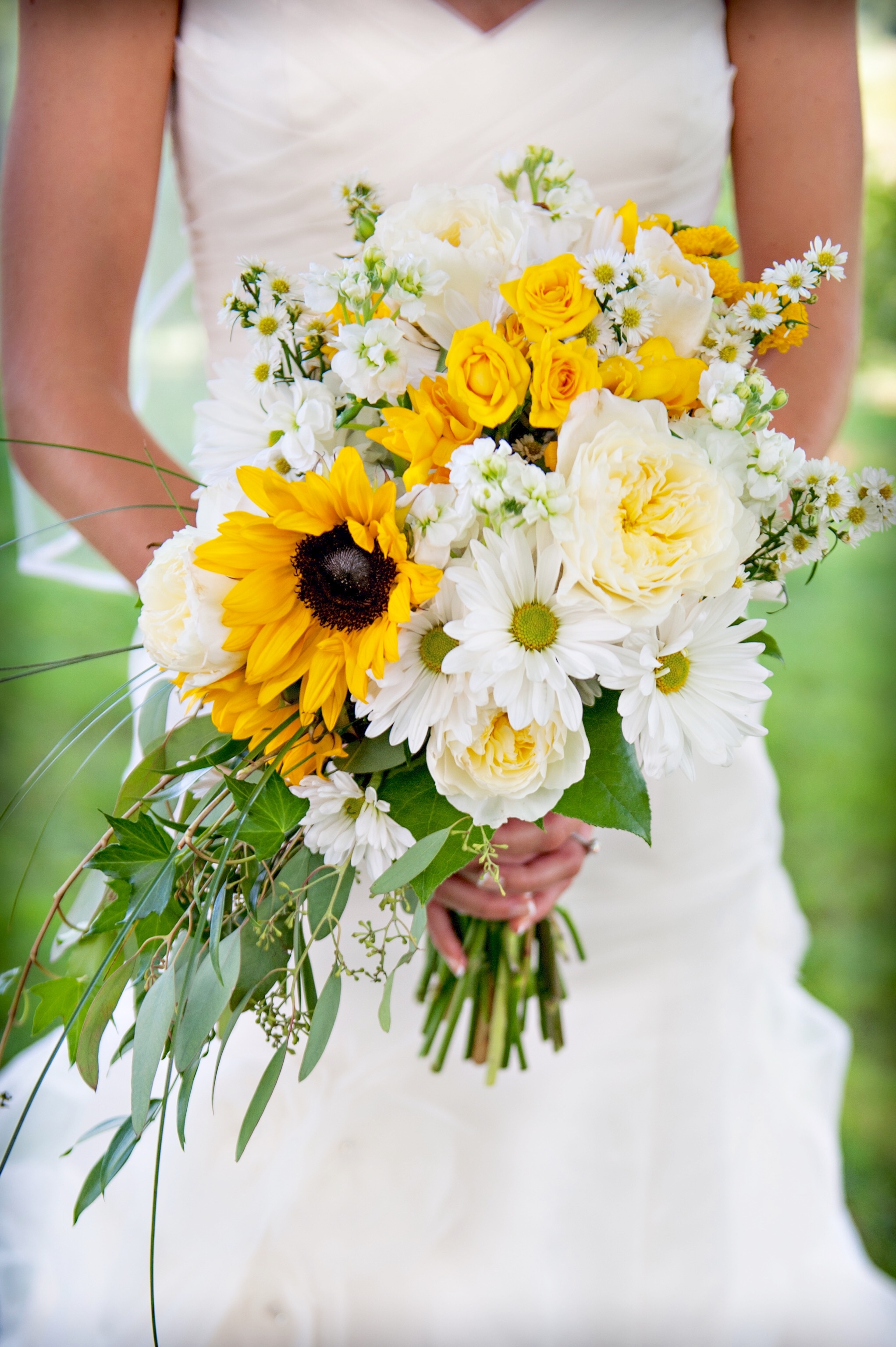 sunflower bouquet with yellow and white roses