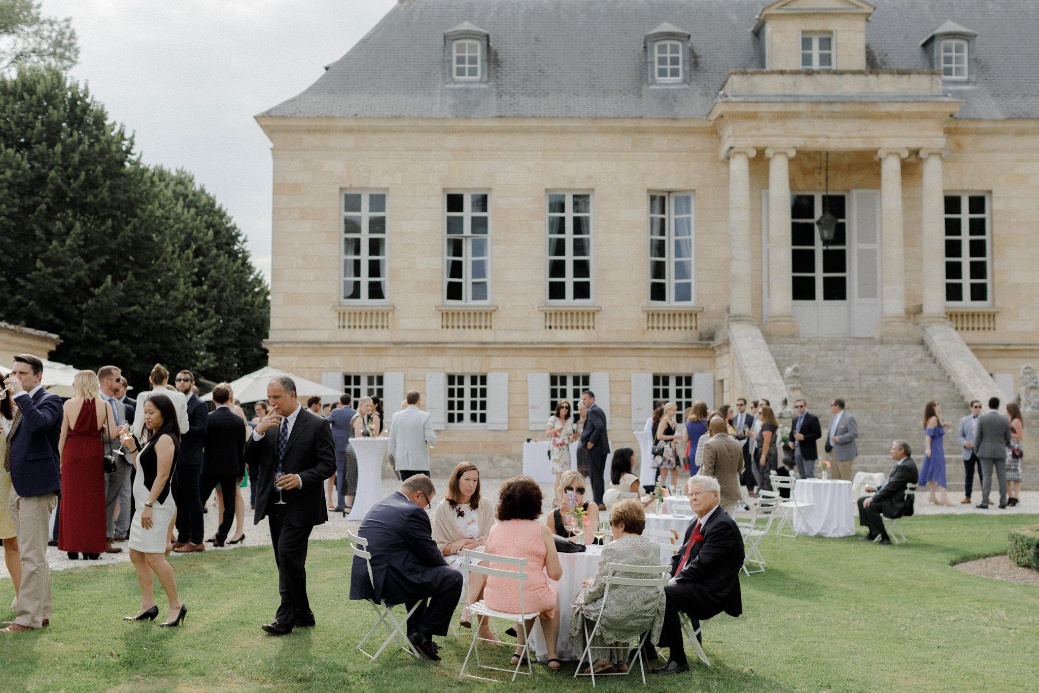 front lawn of Chateau La Louviere cocktail hour