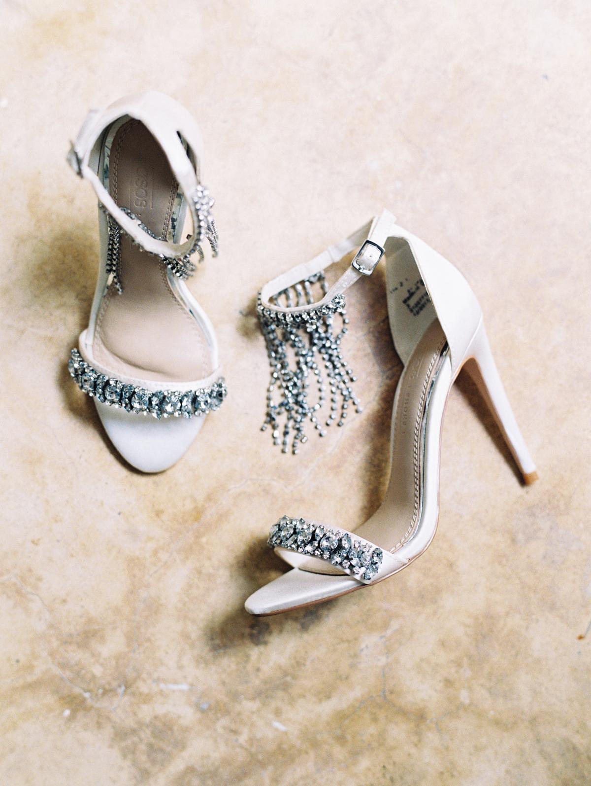 crystal embellished strappy wedding heels