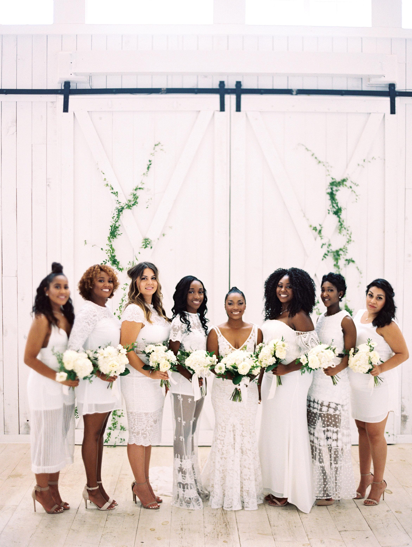 shakira travis wedding bridemaids in white