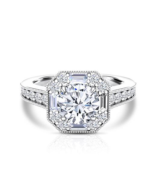Ice Trends Forever One Moissanite Diamond Art Deco Vintage Ring