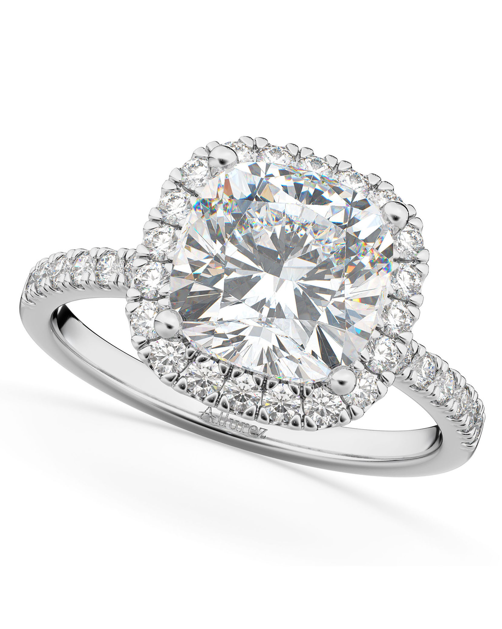Allurez Cushion-Cut Halo Moissanite and Diamond Engagement Ring