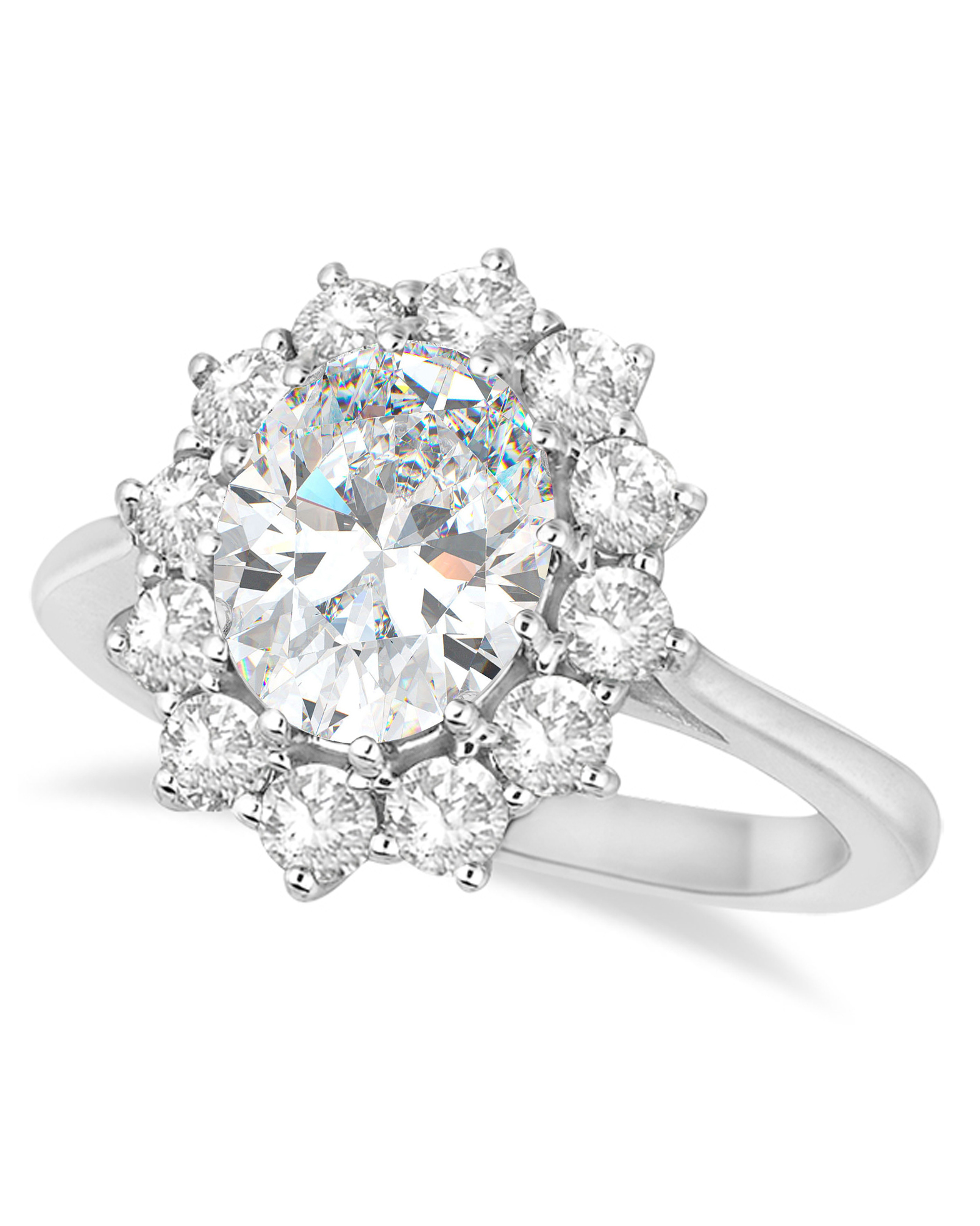 Allurez Oval Moissanite and Diamond Ring