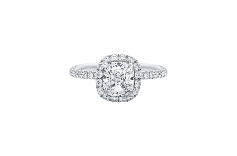 "Harry Winston ""The One"" Cushion-Cut diamond Micropavé Engagement Ring"