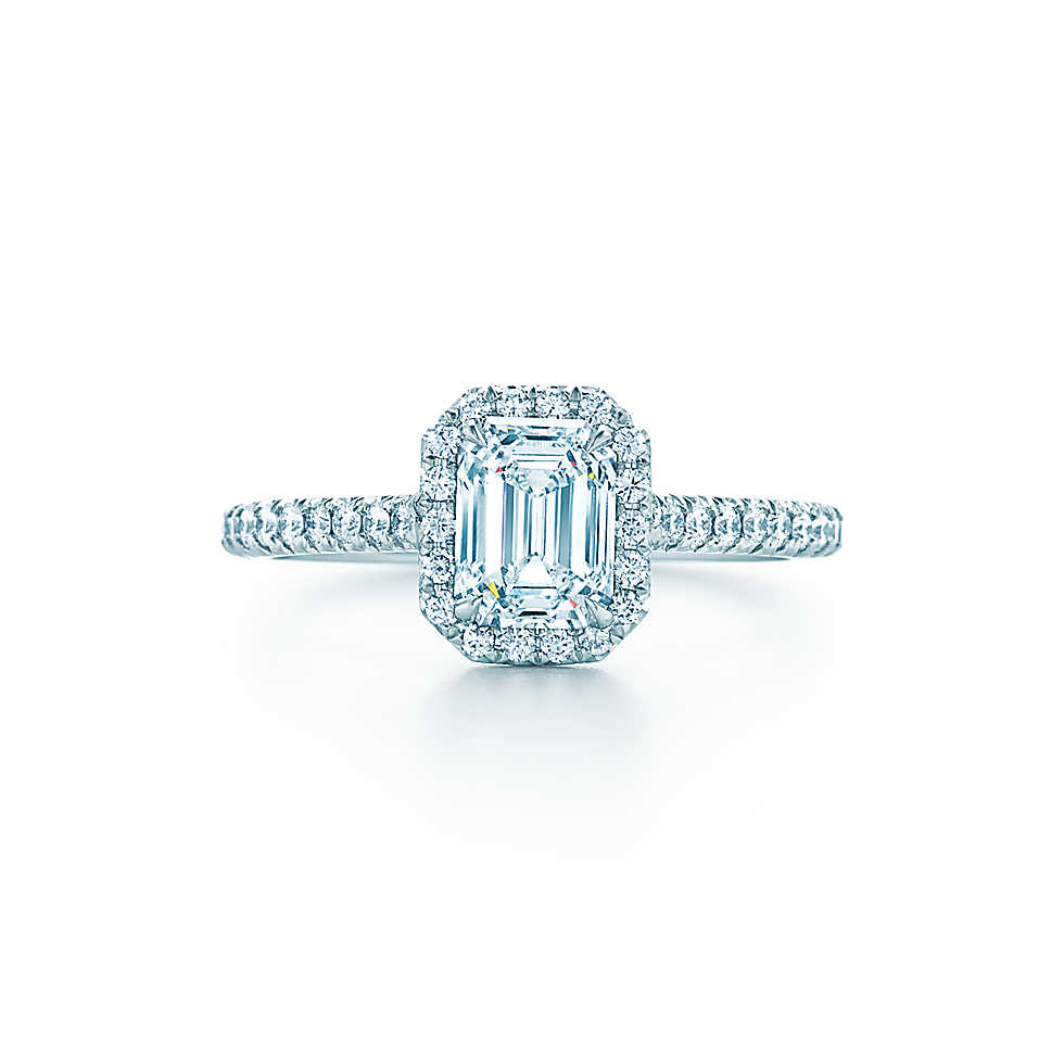 "Tiffany & Co. ""Soleste"" Emerald-Cut Halo Engagement Ring with Diamond Band"