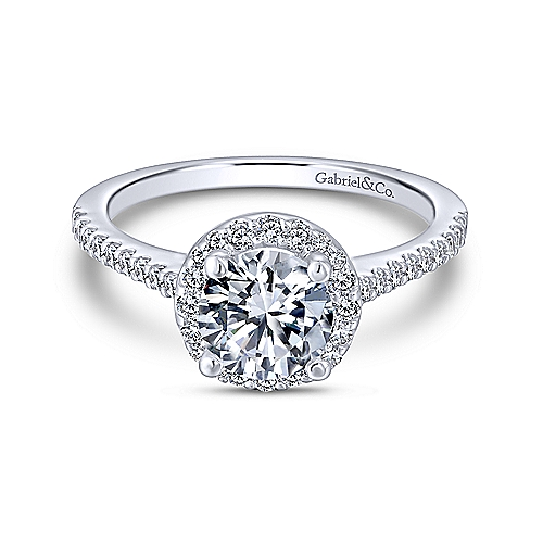 "Gabriel & Co. ""Carly"" 14-Karat White Gold Round Halo Engagement Ring"