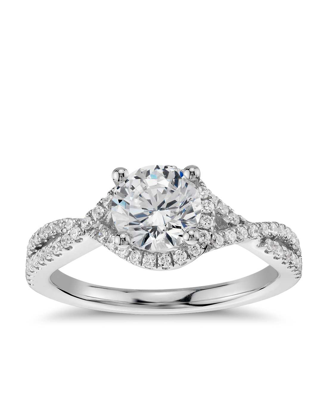Blue Nile Twisted Halo Diamond Engagement Ring