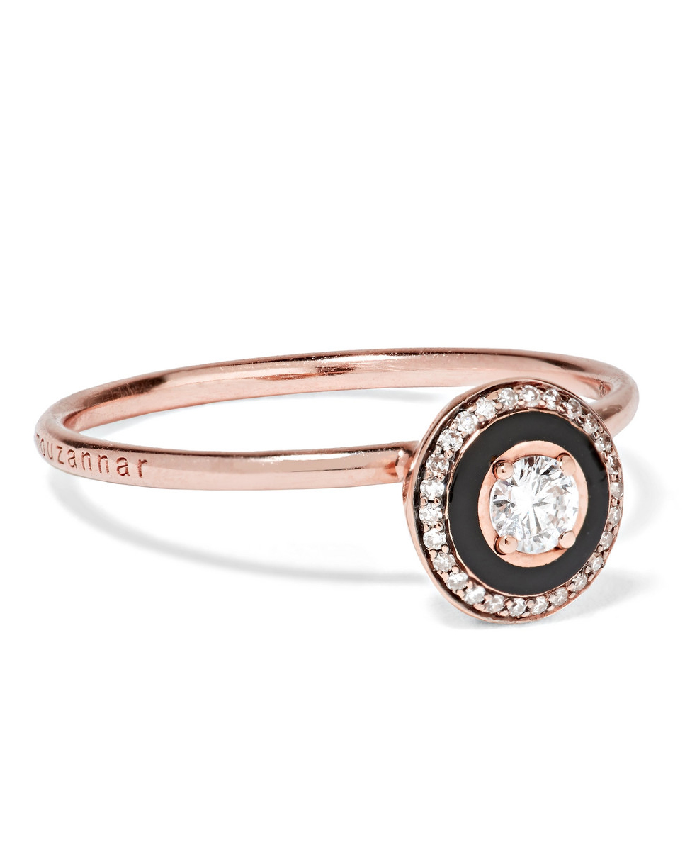"Selim Mouzannar ""Mina"" 18-Karat Rose Gold, Enamel, and Diamond Ring"