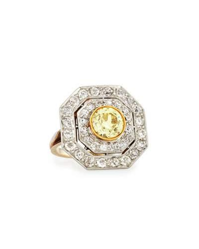 "NM Estate ""Edwardian"" Octagonal Yellow Diamond Cluster Ring"