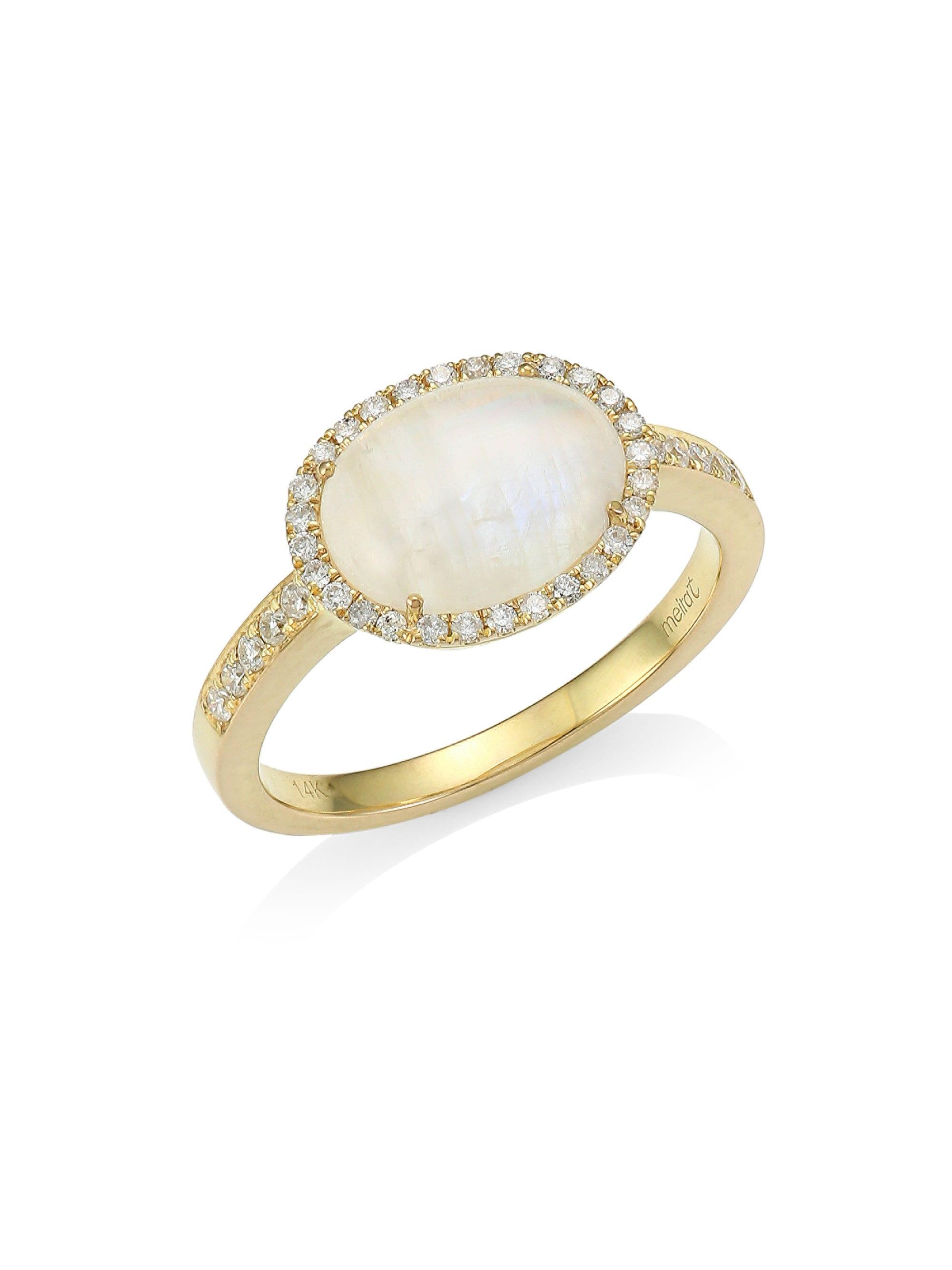 Meira T 14-Karat Yellow Gold, Diamond, and Rainbow Moonstone ring