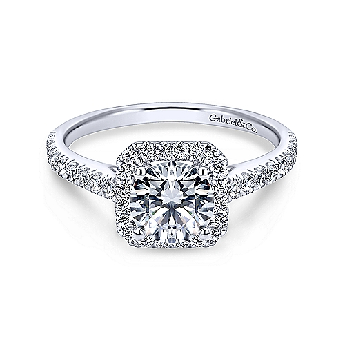 "Gabriel & Co. ""Margot"" 14-Karat White Gold Round Halo"