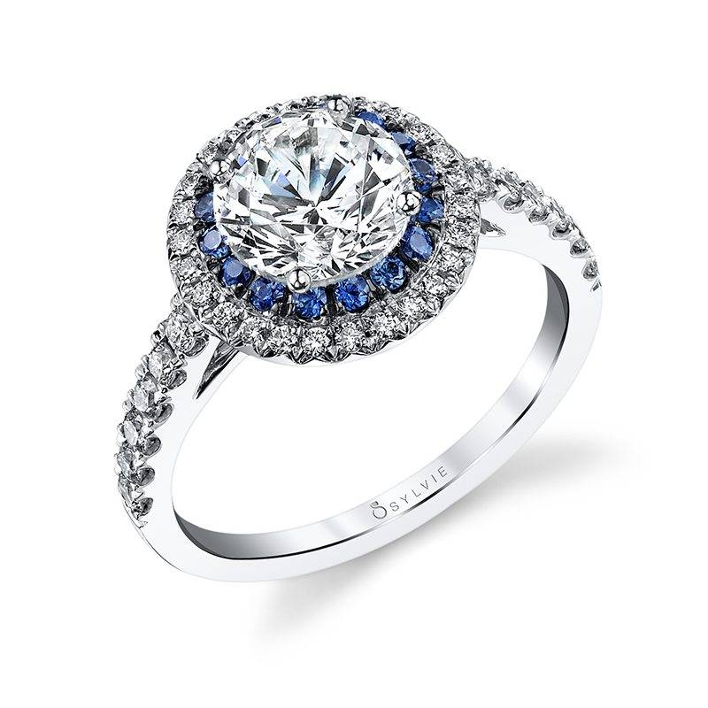 "Sylvie Collection ""Angele"" Double Halo Engagement Ring"