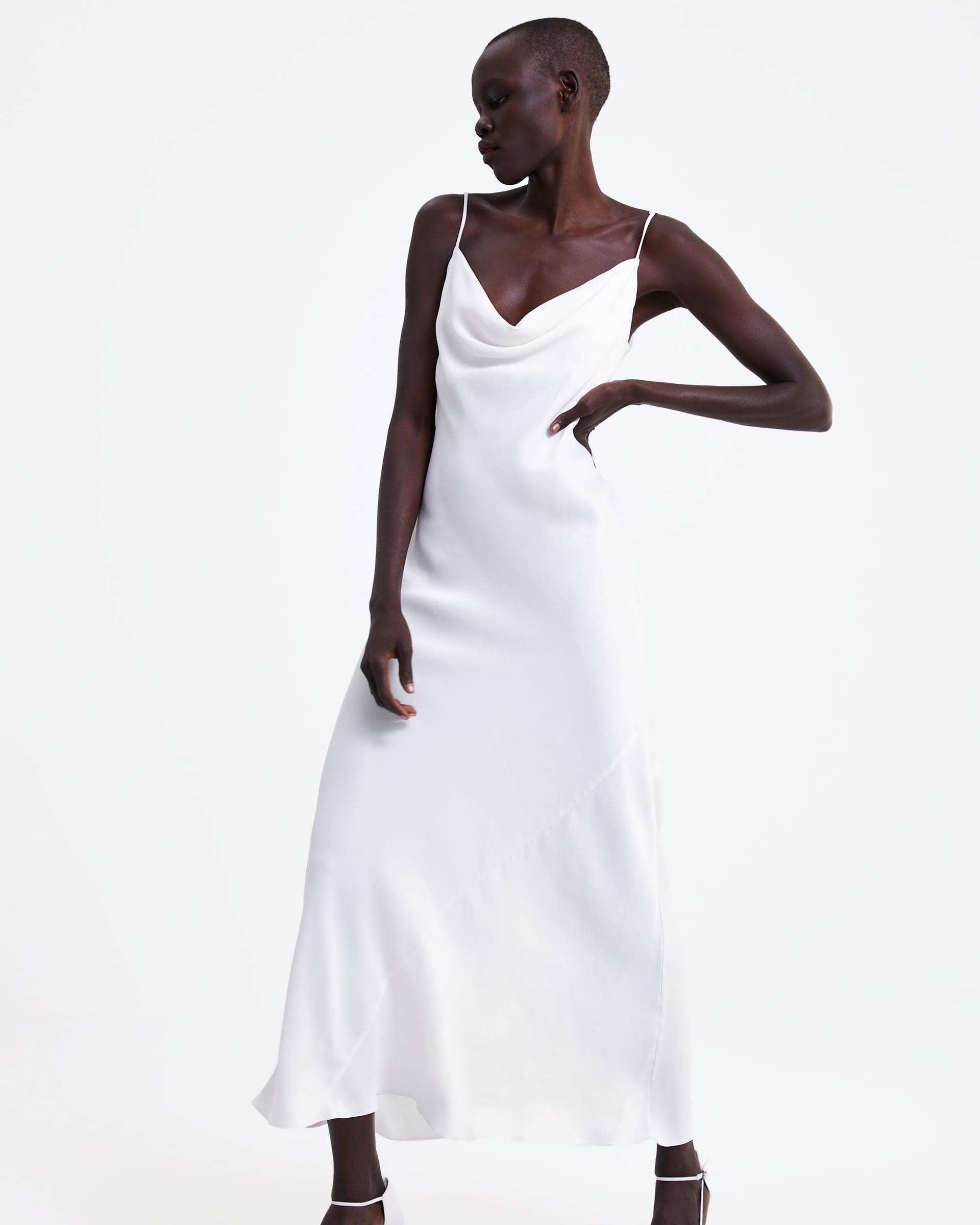 white sating spaghetti strap dress