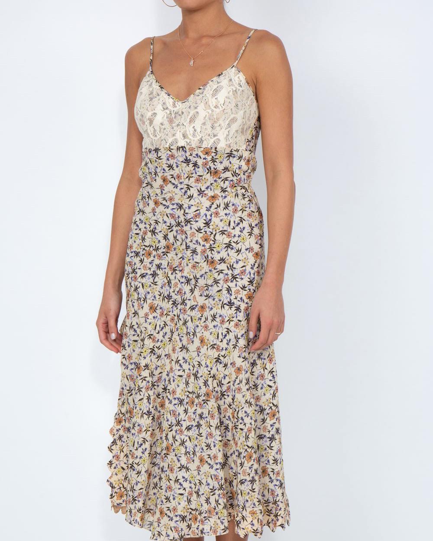 spaghetti strap floral pattern midi dress