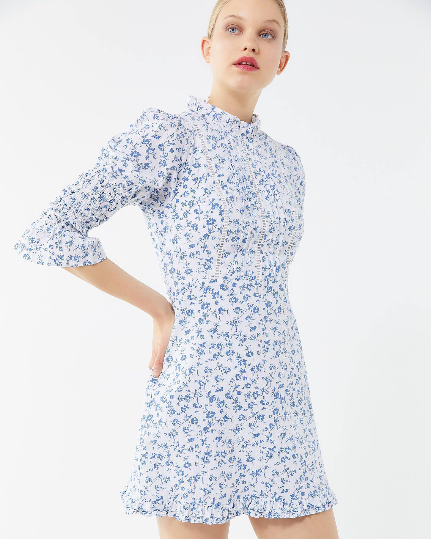 blue floral pattern high-neckline mini dress
