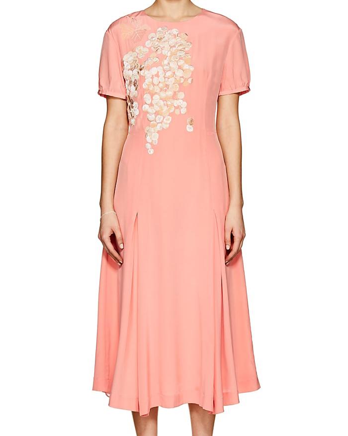 coral embroidered silk midi dress