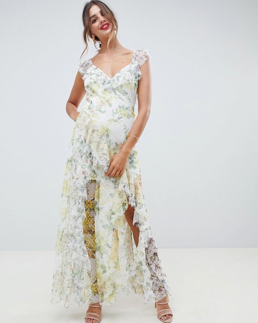 floral pattern ruffled maxi dress
