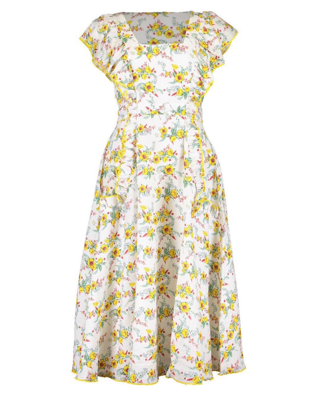 short ruffle-sleeve daisy pattern midi dress
