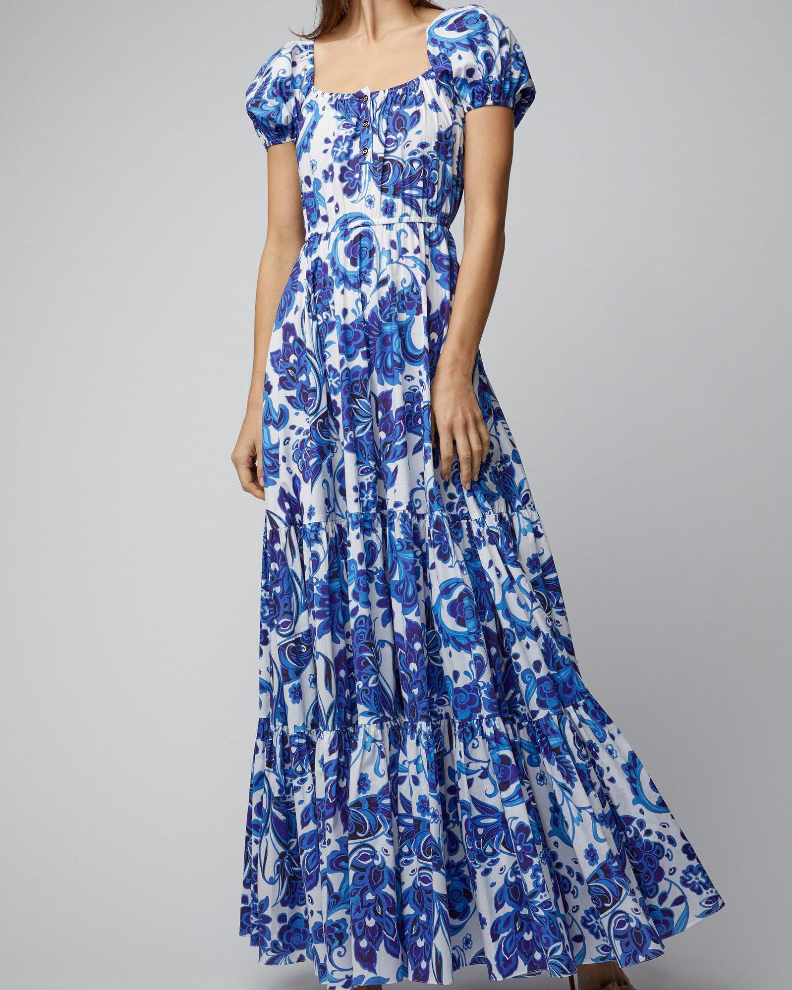 blue paisley cotton maxi dress