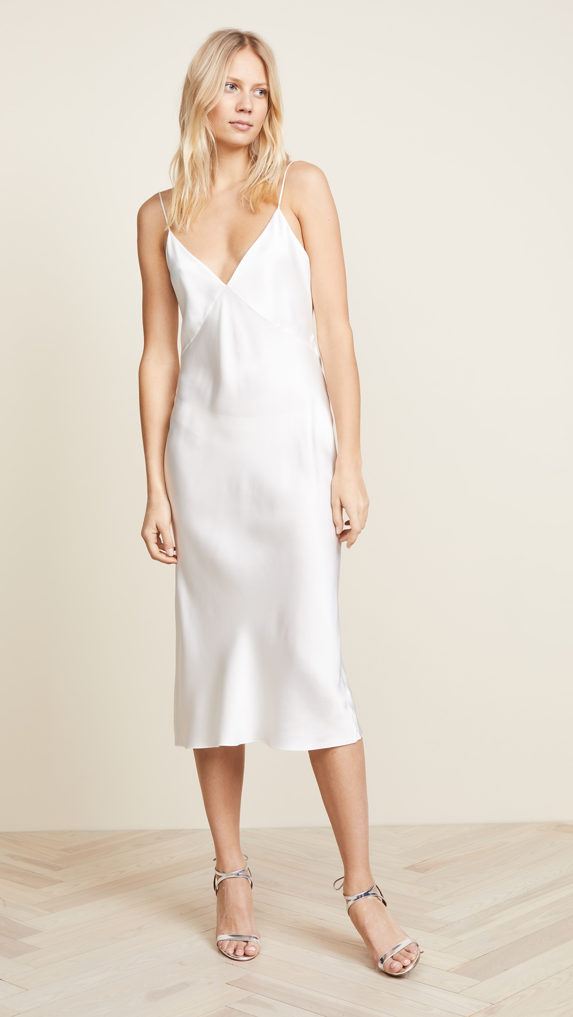 ivory silk slip midi dress
