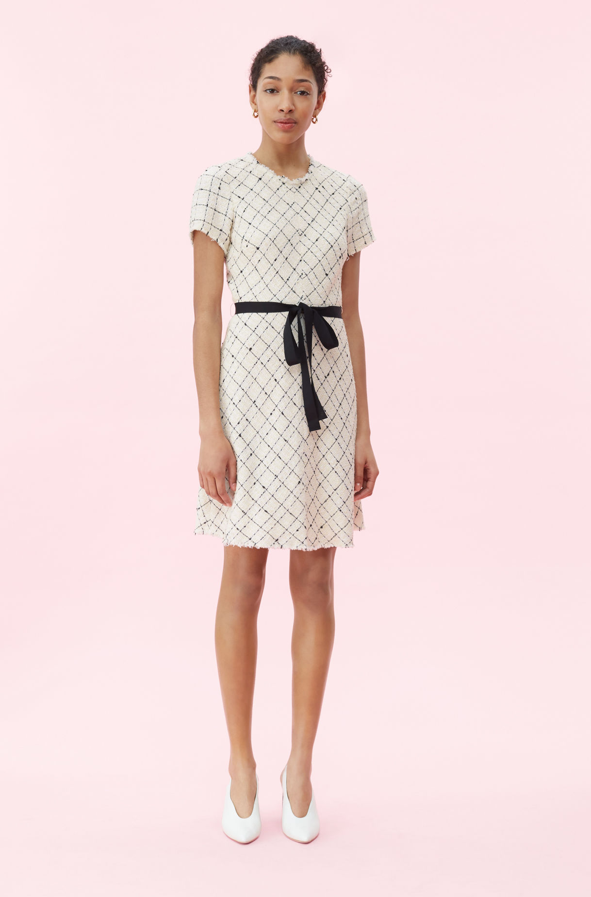black and white Plaid Tweed Dress