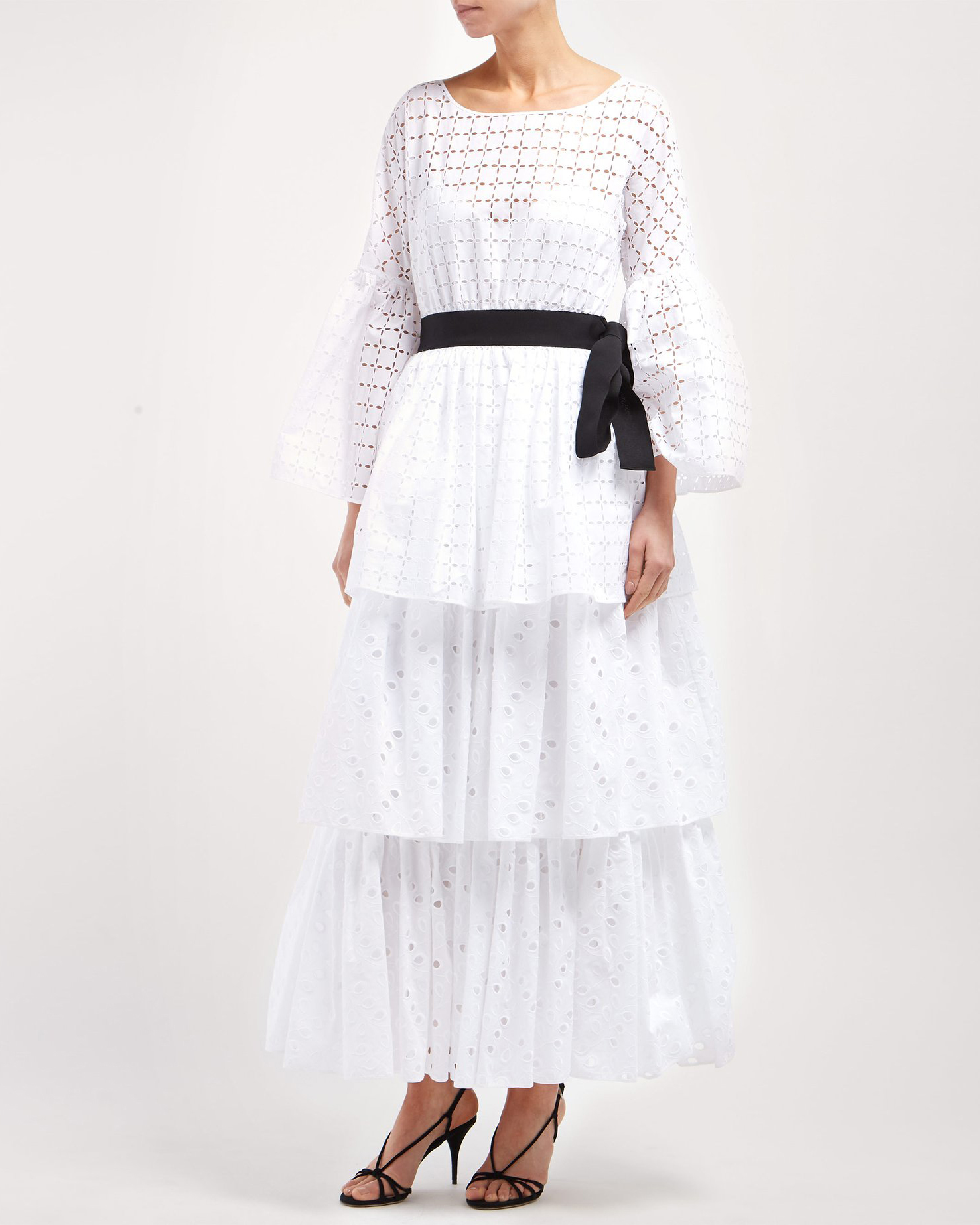 white Tiered Cotton Dress with black belted waaist