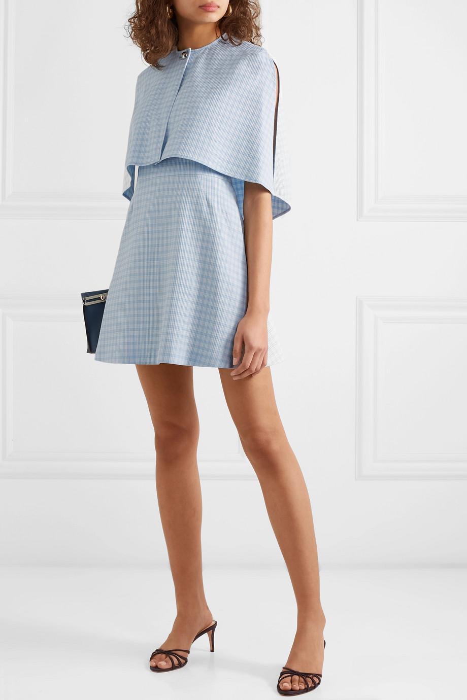 baby blue plaid Cape Effect Cloqué Mini Dress