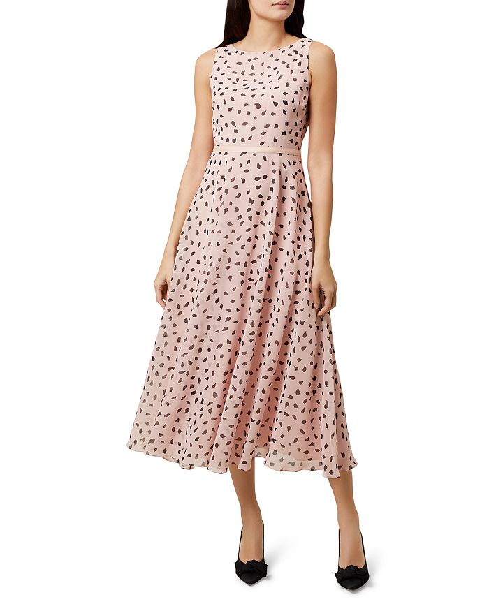 light pink midi dress with belted waist