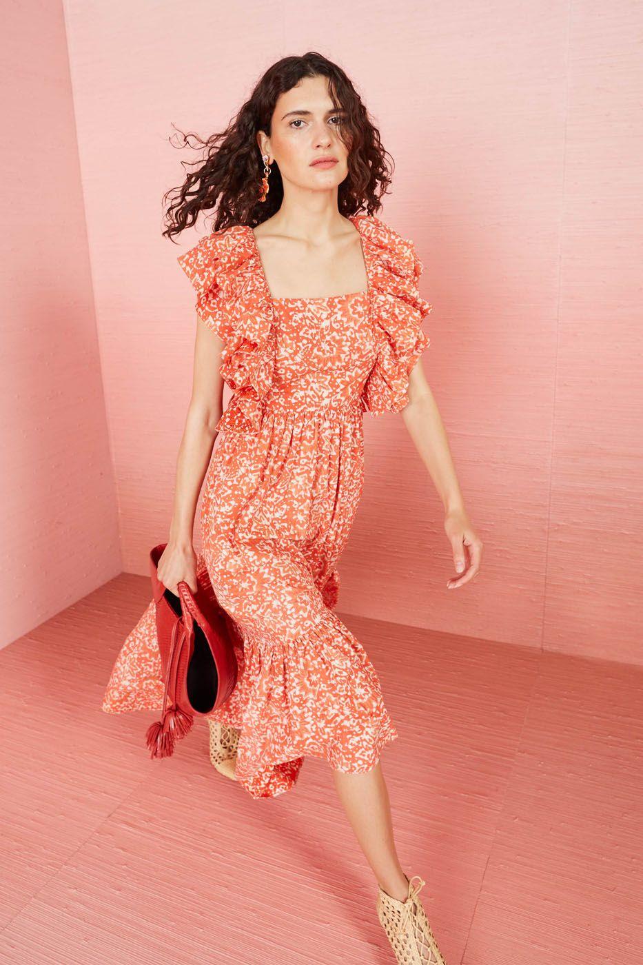 orange floral printed midi dress