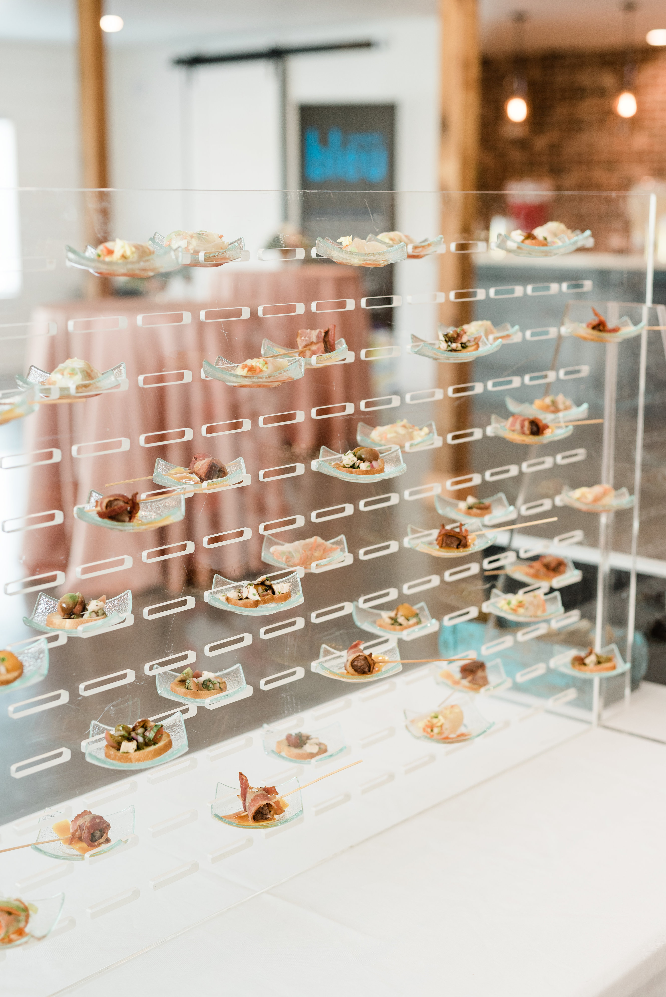 transparent food wall with appetizer