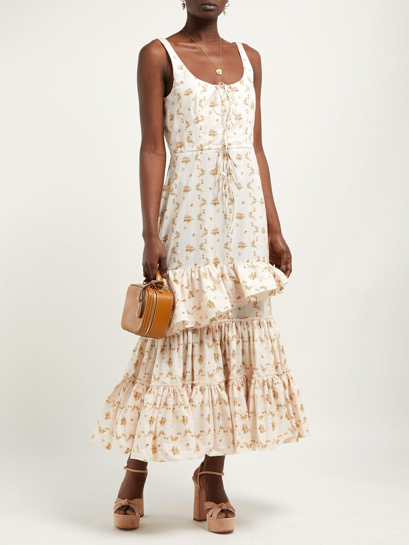 white printed frilled midi dress