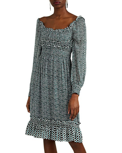 black and white Geometric Silk Chiffon Midi Dress