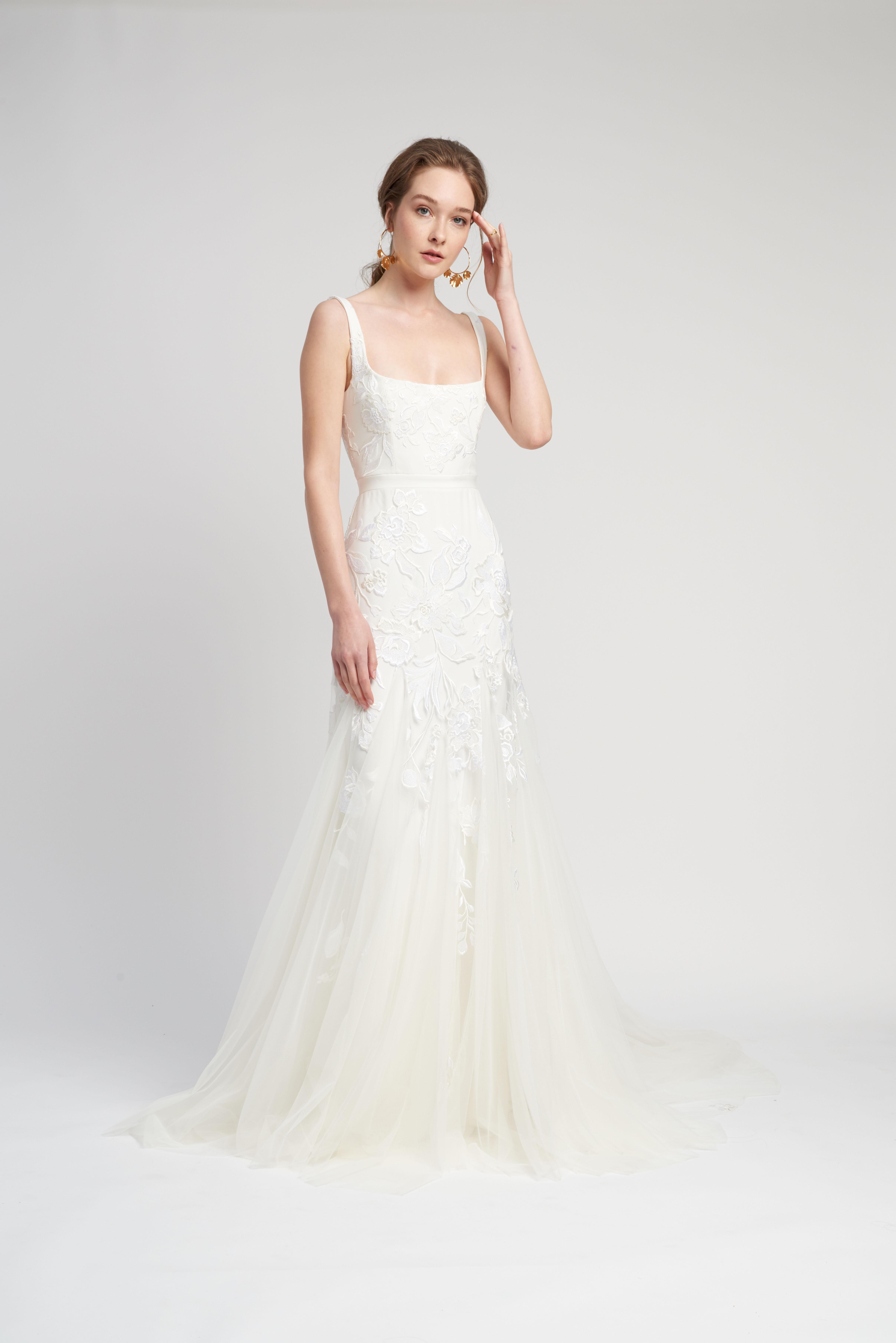 spaghetti strap squared neckline lace trumpet wedding dress Lover of Mine by Alexandra Grecco Spring 2020