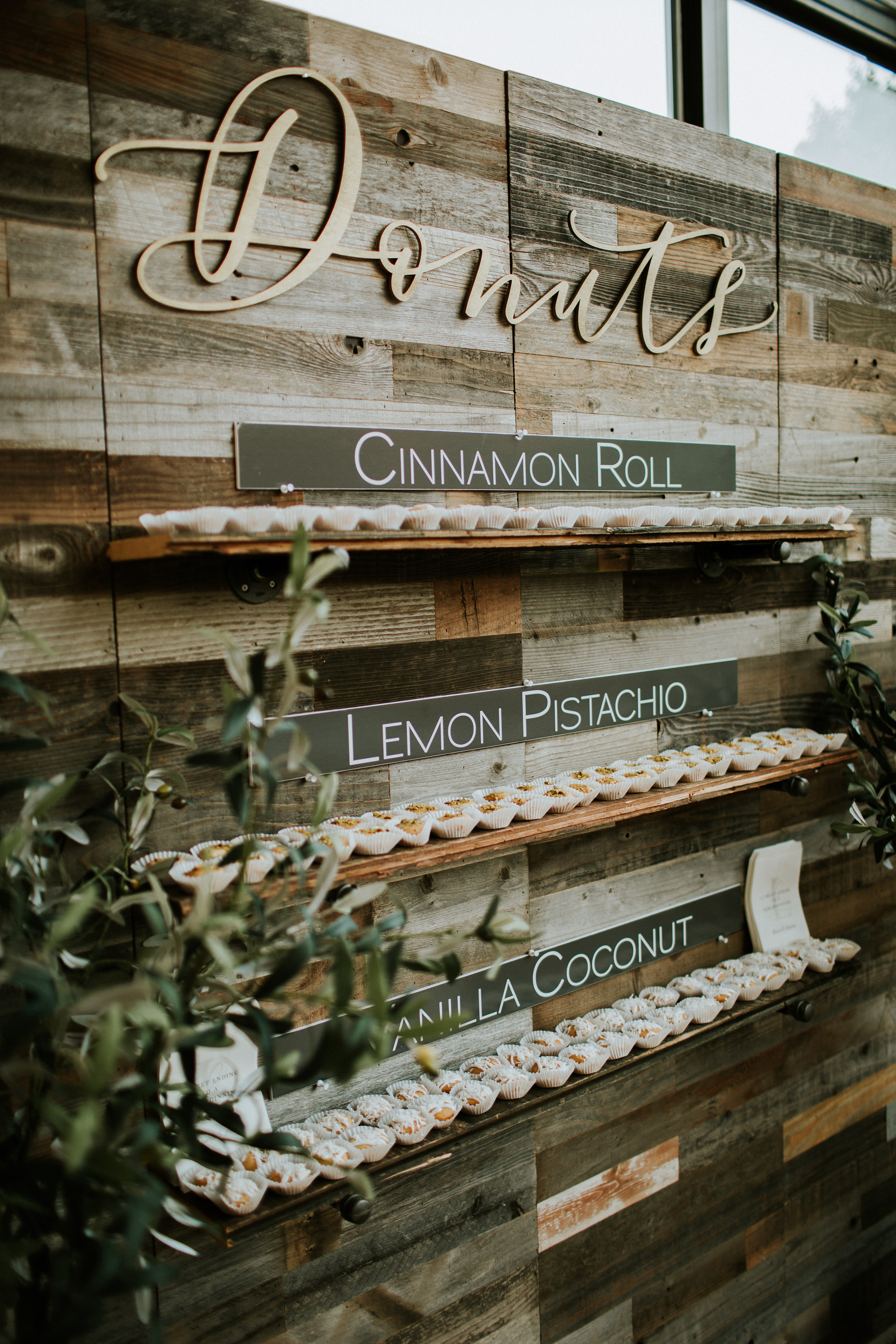 donut food wall with three flavors