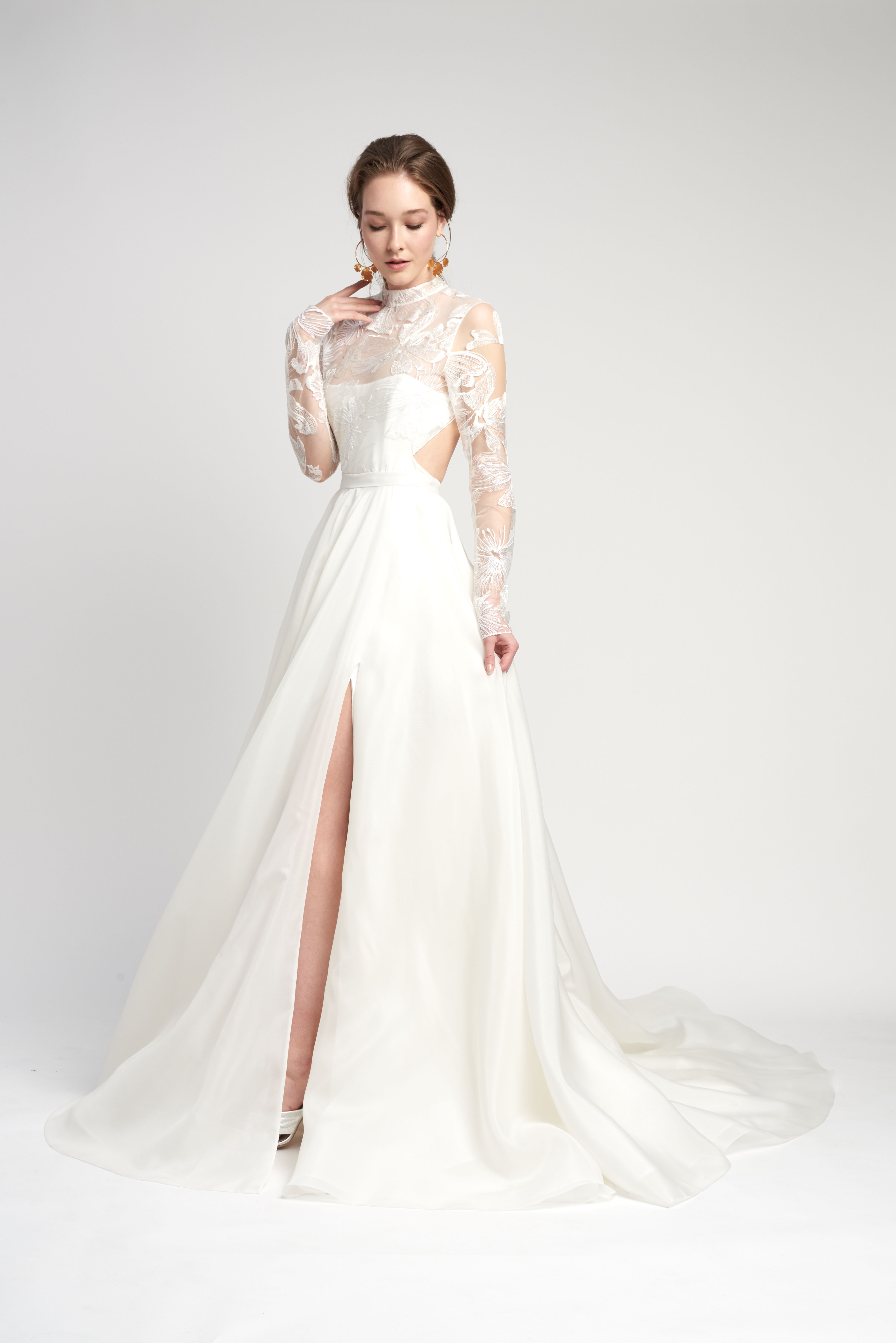 lace high neck long sleeve side cutouts front slit a-line wedding dress Lover of Mine by Alexandra Grecco Spring 2020