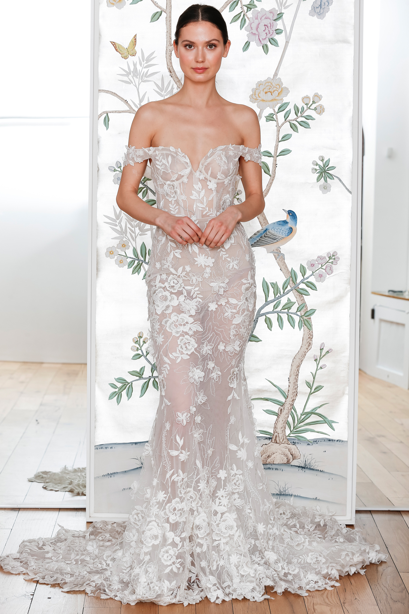 lee petra grebenau sheer lace v neck off the shoulder wedding dress spring 2020