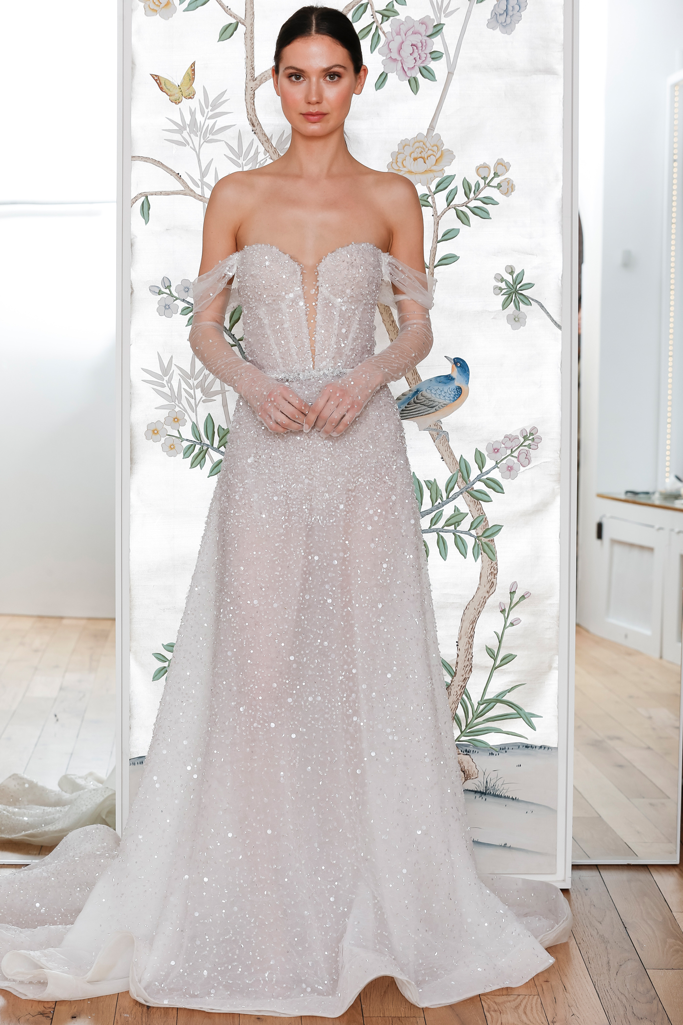 lee petra grebenau sequined off the shoulder plunging neckline a line wedding dress with sheer arm length gloves spring 2020