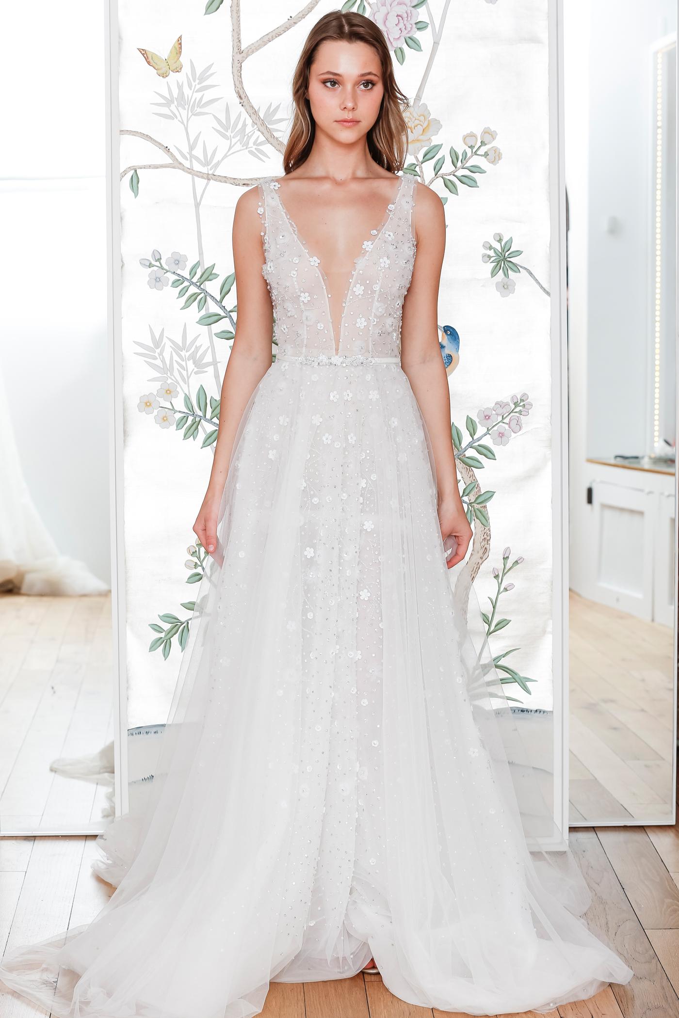 lee petra grebenau belted sleeveless plunging neckline wedding dress with overskirt spring 2020